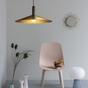 Brushed Brass Pendants Lighting Retro Industrial 1-Light Hanging Indoor Lights with Metal Cone Shade