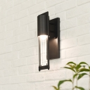 Contemporary Cylinder Wall Sconces Iron and Glass 1-Light Wall Light Fixture for Balcony