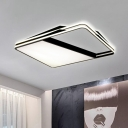 Acrylic Rectangular Flush Ceiling Lighting LED Modern Simple Ceiling Lamp in Black for Living Room
