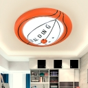 Resin Basketball Flush Ceiling Light with White Glass Shade Sports LED Flushmount