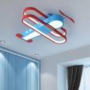 Aircraft Lighting Fixture Kids Room Metal and Acrylic 1 Light Ceiling Light Fixture in Red and Blue