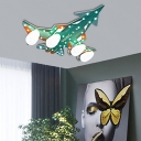 Multi Colored Aircraft Flushmount Ceiling Fixture Glass and Metal 4 Bulbs Flush Mount Light for Study
