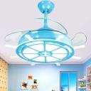 1-Light Steering Wheel Fan Light Coastal Iron and Acrylic 1 Bulb Ceiling Fan with Fishnet