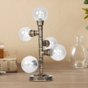 Pipe Accent Lamp Vintage Style Glass and Steel Table & Desk Lamps for Bedside