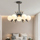 Modern Orb Ceiling Pendant Light Opal Glass 4/7 Light Chandelier Lamp for Bedroom