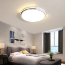 Metal Round Ceiling Light with Acrylic Diffuser Modern Integrated Led Flush Lighting in White