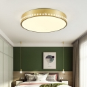 Gold Drum Ceiling Flush Mount Light Nordic Metal Ceiling Lamp with Clear Crystal Bead