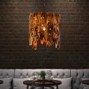 Country Star Sky Hanging Pendant Lights Wood Hanging Ceiling Lights with Chain for Restaurant