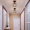 Cylinder Semi-Flush Mount Retro Style Metal 1 Bulb Caged Semi Flush Mount Light for Hallway