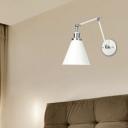 Antique Cone Sconce Lighting Fixtures Metal 1 Light Swing Arm Sconce Light Fixtures in White for Bedside