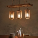 Shaded Pendants Lighting Country Iron and Wood 1/2/3 Light Ceiling Pendant Light for Bedroom