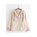 Students Preppy Style Khaki Cat Pattern Zip Up Hooded Jacket