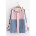 Students Trendy Color Block Letter Print Long Sleeve Zip Up Leisure Hooded Jacket
