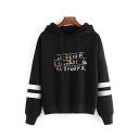 Popular Letter Printed Striped Long Sleeve Hoodie
