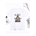 Cartoon Figure Letter Print Round Neck Short Sleeve Casual Loose Summer White Tee