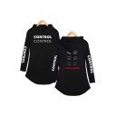 HOW TO CONTROL Letter Eyes Printed Long Sleeve Hooded Dress