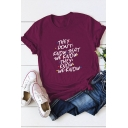THEY DON'T KNOW Letter Print Round Neck Short Sleeve Casual Loose Summer T-Shirt