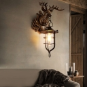 Lantern Wall Sconce Light with Deer Design Rustic Clear Glass Single Wall Lamp for Foyer