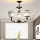 Crystal Fringe Chandelier Light Mid Century Modern Iron Chandelier for Living Room and Bedroom