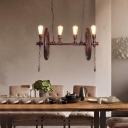 Wheel Island Pendant Aged Iron 4 Lights Island Light Fixture with Pipe in Rust for Dining Room