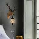 Resin Deer Wall Mount Light with Teardrop Shade Rustic 1 Light Wall Lighting in Black