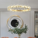 Gold Round Pendant Light with Clear Crystal Flower Contemporary Indoor Lighting for Living Room
