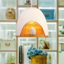 Dome Hanging Ceiling Light 1 Light Nordic Metal Pendant Lighting with Little Bird for Kids