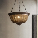 Chain Chandelier Lighting Retro Loft Style 3 Lights Metal Hanging Lamp in Bronze