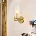 Brass Finish Wall Sconce Light Modern Metal and Blown Glass 1 Head Wall Lamp Sconce with Cylindrical Glass Shade for Foyer