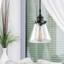 Glass Cone Shade Hanging Lights for Dining Room, Vintage Metal 1 Light Pendant Light Fixture