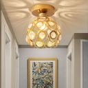 Unique Crystal Ceiling Fixture Modern Gold Sphere Ceiling Light Fixture for Corridor Foyer