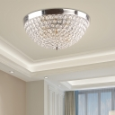 Nickel Crystal Bowl Flush Ceiling Lights Modern Metal Flush Mount Ceiling Lights for Living Room