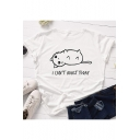 I Can't Adult Today Letter Funny Cats Print Round Neck Short Sleeve T Shirt