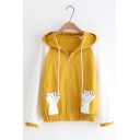 Students Cartoon Cat Pattern Long Sleeve Hooded Zip Up  Loose Jacket