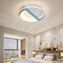 Macaron Round Ceiling Light Metallic Integrated Led Flush Mount Ceiling Light for Kids