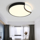 LED Moon Flushmount Lighting Simple Modern Metal Ceiling Light Fixture in Black and White