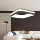 Simple Square Ceiling Pendant with Acrylic Shade Integrated Led 1 Light Hanging Light