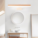 Wooden Linear Wall Mounted Lights Nordic Style Acrylic 1 Head Mirror Headlights in Warm/White for Bathroom