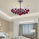 Wine Red/Amber/Dark Gray Semi Flush Ceiling Light Contemporary Metal Crystal 6 Light Semi Flush Chandelier for Bedroom