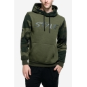 Men's Hot Fashion Letter STYLE Print Camouflage Patch Long Sleeve Casual Drawstring Hoodie