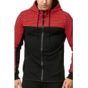 Mens New Stylish Contrast Stripe Patched Long Sleeve Casual Sports Zip Up Hoodie