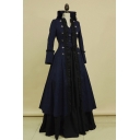 Stylish Vintage Medieval Retro Cosplay Costume Long Sleeve V- Neck Double-Breasted Embellished Two Pieces A-Line Maxi Dress Evening Dress