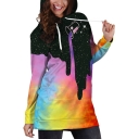 Trendy 3D Galaxy Printed Long Sleeve Hooded Mini Dress
