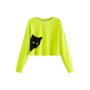 New Trendy Black Cat Pattern Round Neck Long Sleeve Cropped Sweatshirt