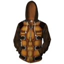 Comic 3D Printed Brown Long Sleeve Zip Up Cosplay Hoodie