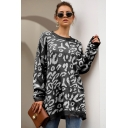 New Arrival Leopard Print Round Neck Bloomer Sleeve Shaggy Sweater for Women