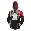 Fire Comic Cosplay Costume Red and Black Color Block Zip Up Hoodie
