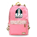 Cool Bad Guy Bleeding Figure Floral Printed Students Canvas School Bag Backpack 30*14.5*42cm