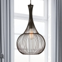 Teardrop Cage Pendant Ceiling Lights Industrial-Style Metal Single Light Hanging Lamp in Black