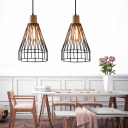 Industrial Cage Pendant Light Shade Metal 1 Light Ceiling Pendant Lights with Wood for Bedroom
